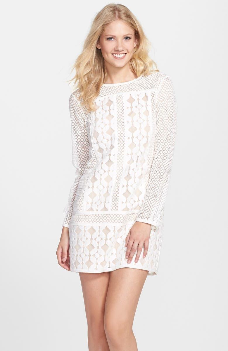 BCBGMAXAZRIA 'Anisa' Blocked Lace Shift Dress, Main, color, 101