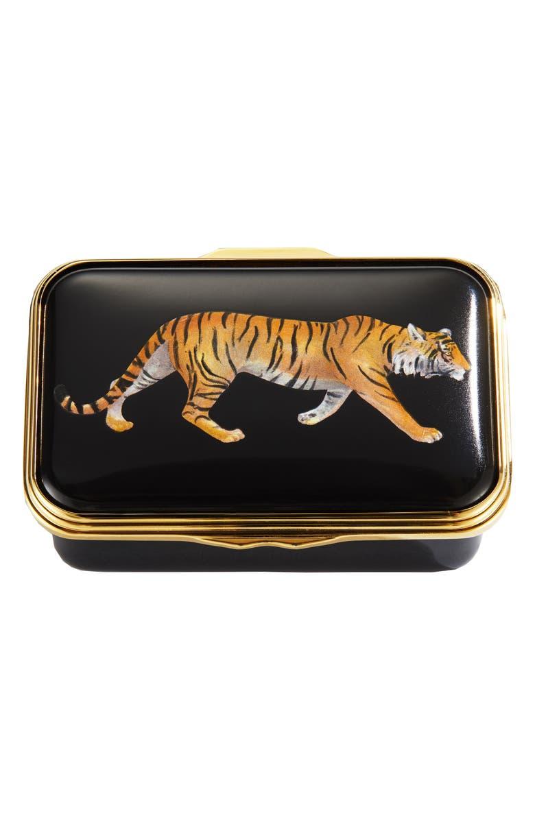 HALCYON DAYS Magnificent Wildlife Tiger Enamel Box, Main, color, BLACK