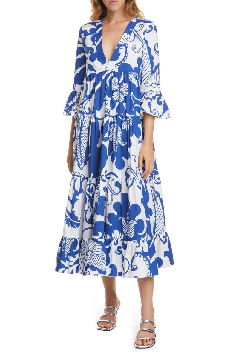 LA DOUBLEJ Jennifer Jane Floral Ruffle Cotton Midi Dress, Main, color, MAREA BLU