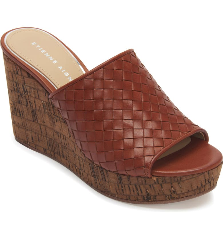 ETIENNE AIGNER Devin Wedge Slide Sandal, Main, color, COGNAC LEATHER