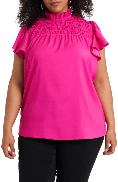 1.state Tops SMOCKED RUFFLE SLEEVE TOP