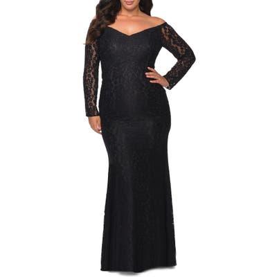 Plus Size La Femme Long Sleeve Lace Trumpet Gown, Black