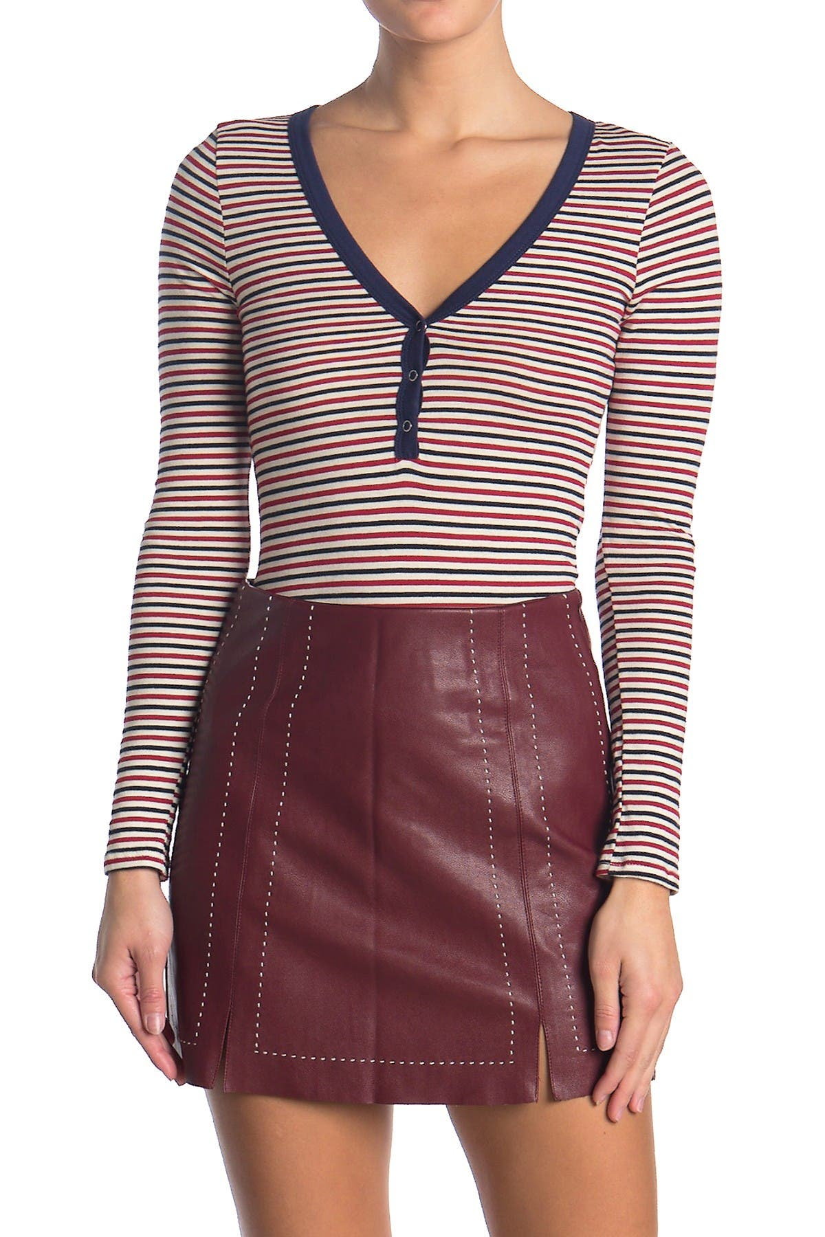 Image of dee elly Striped Long Sleeve Henley Shirt