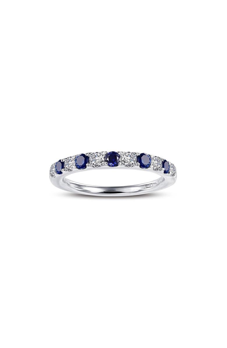 LAFONN Simulated Diamond Birthstone Band Ring, Main, color, SEPTEMBER - BLUE/ SILVER