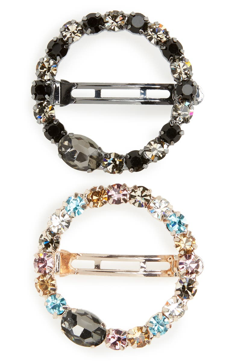 TASHA 2-Pack Crystal Open Circle Barrettes, Main, color, MULTICOLOR