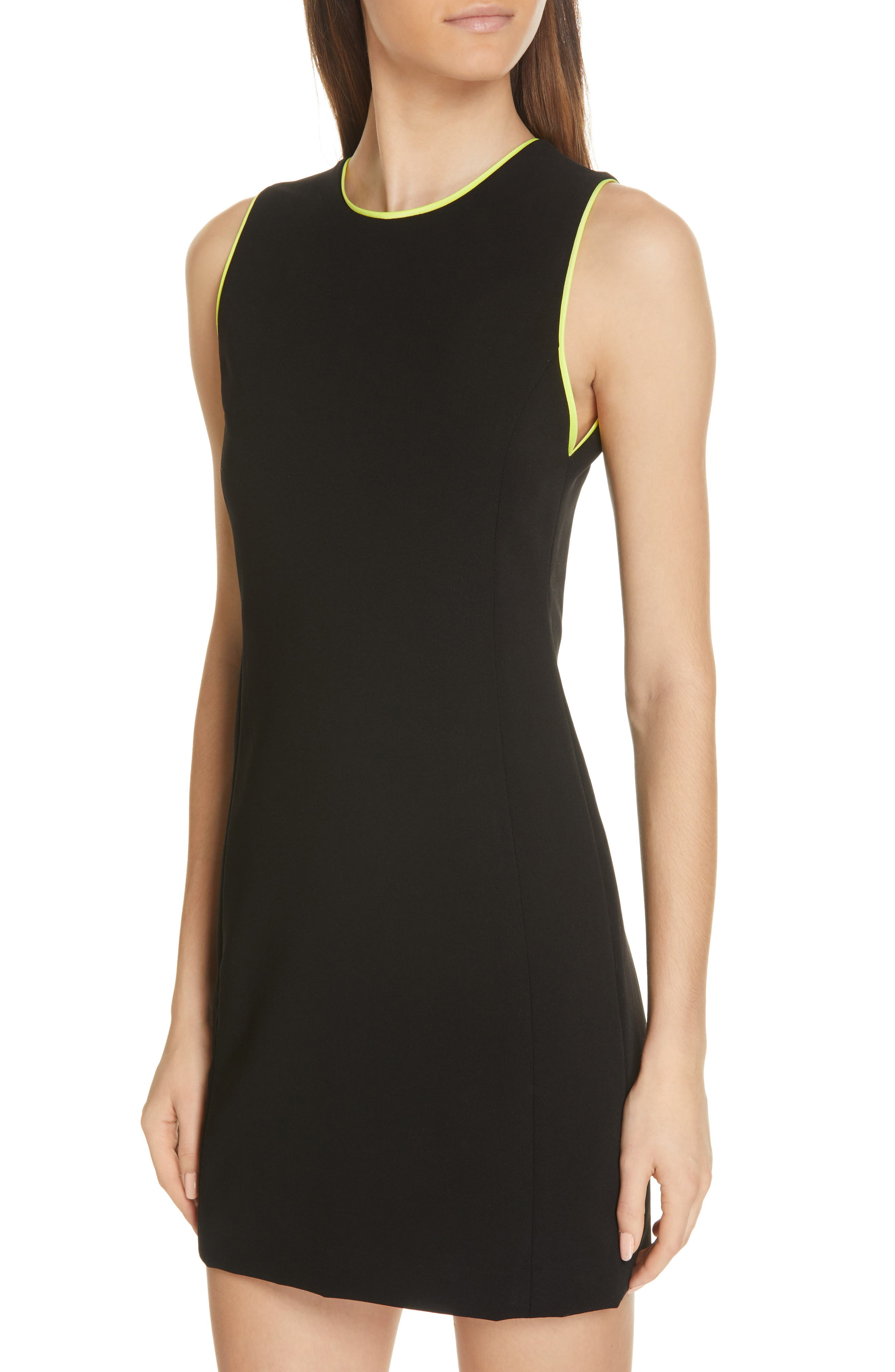 ,                             Clyde A-Line Dress,                             Alternate thumbnail 5, color,                             BLACK/ NEON YELLOW