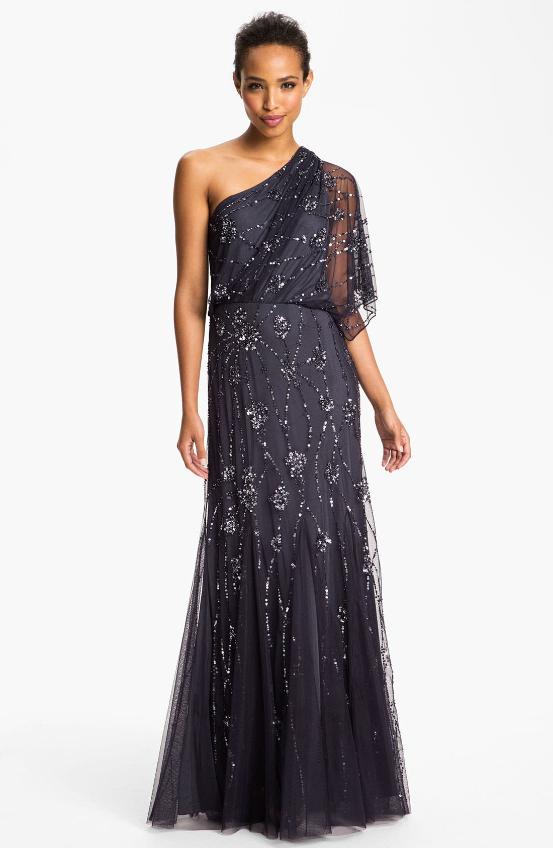 Beaded One Shoulder Blouson Gown, Main, color, 020