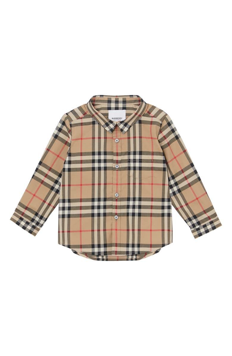 BURBERRY Fredrick Plaid Woven Shirt, Main, color, ARCHIVE BEIGE