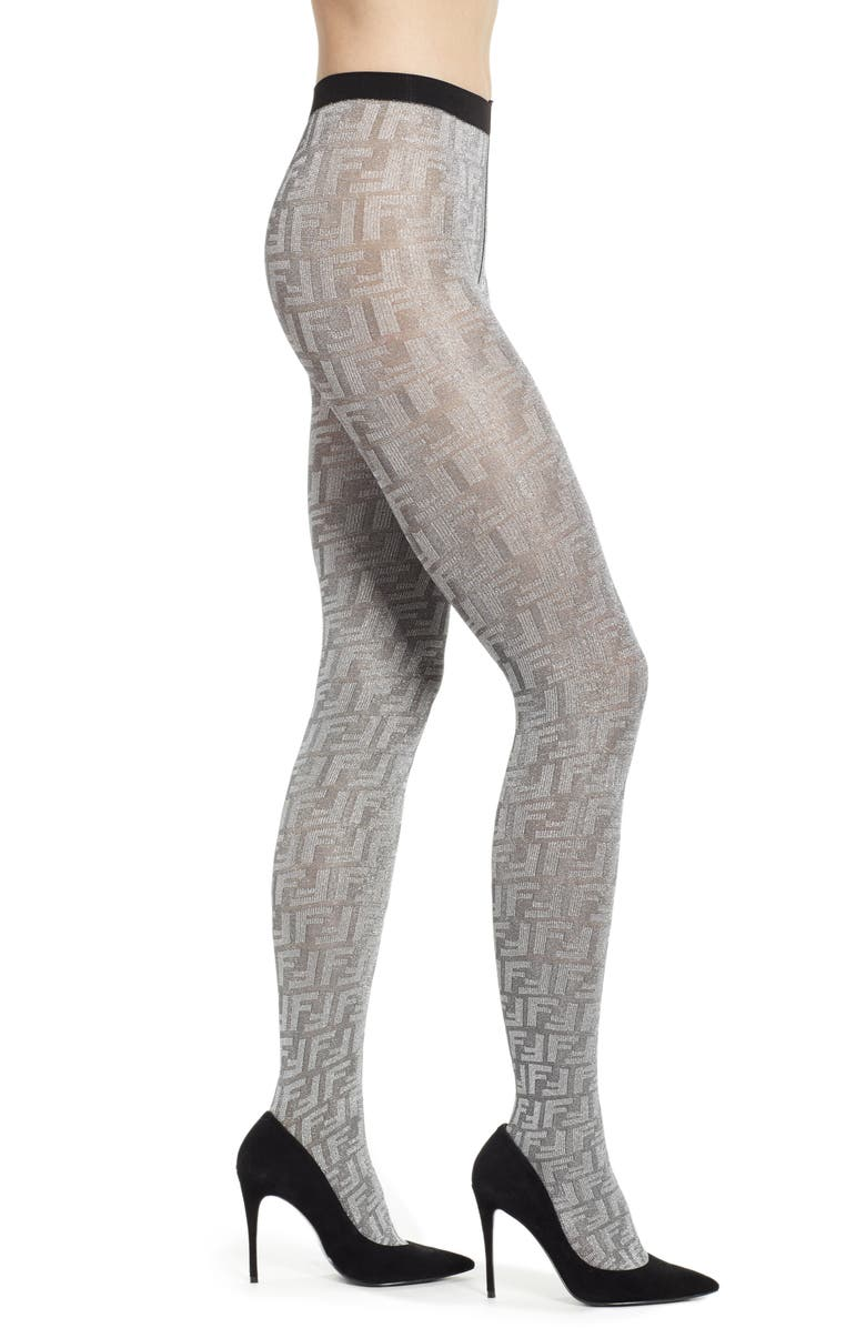 FENDI Double F Logo Metallic Tights, Main, color, SILVER