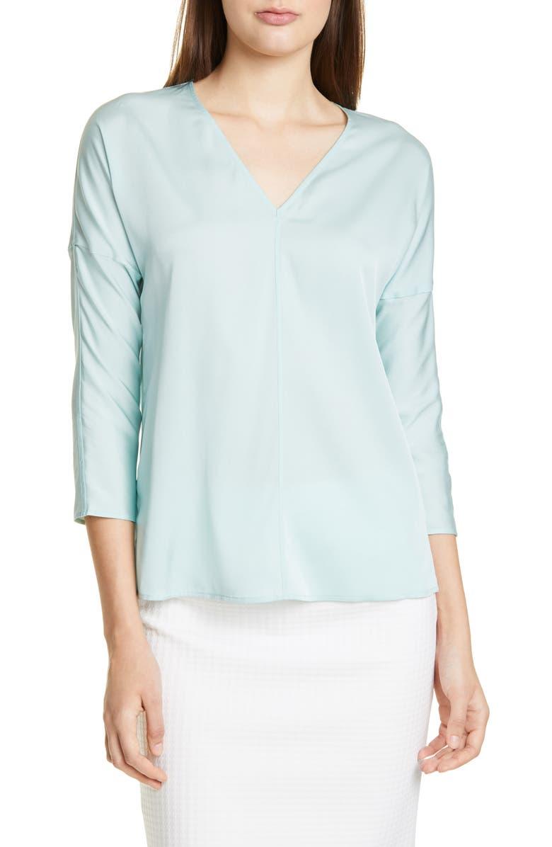 BOSS Inuka Stretch Silk Top, Main, color, MINT