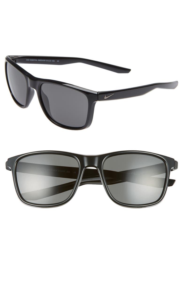 NIKE Essential Endeavor 57mm Square Sunglasses, Main, color, BLACK/ GREY