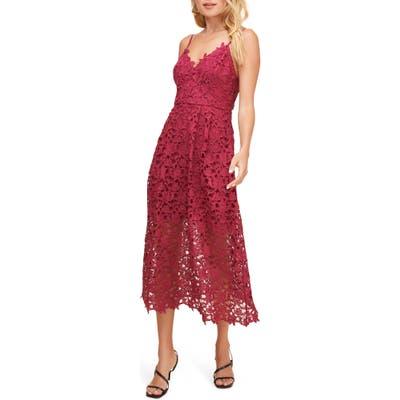 Astr The Label Lace Midi Dress, Pink