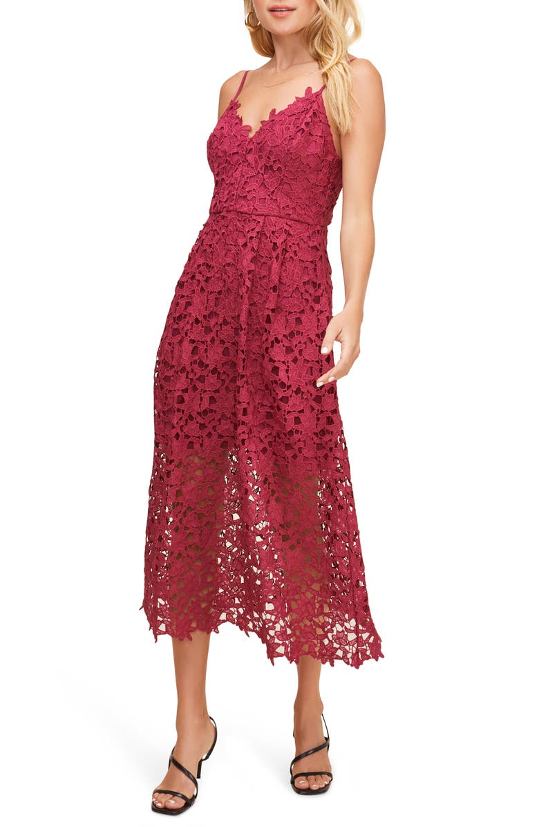 ASTR THE LABEL Lace Midi Dress, Main, color, BERRY