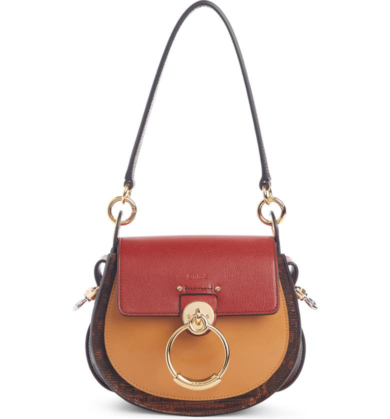 CHLOÉ Small Tess Lizard Embossed Leather Shoulder Bag, Main, color, SEPIA BROWN