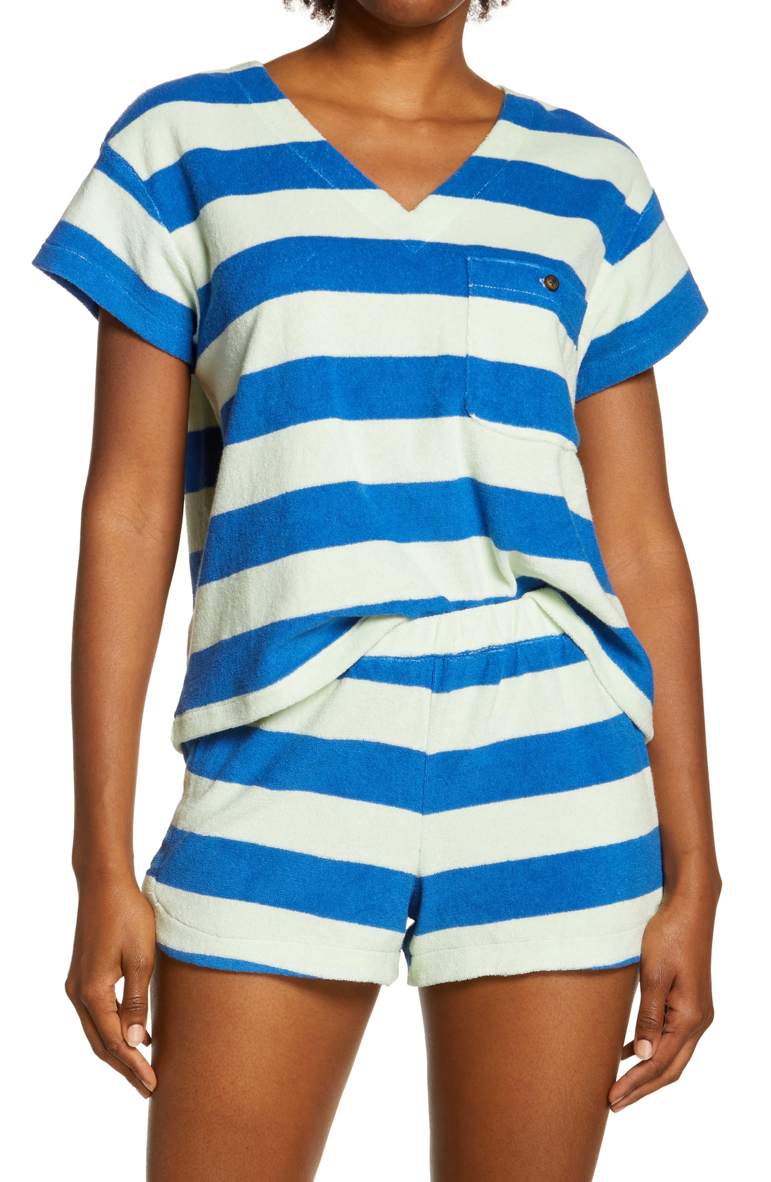Terry Cloth V-Neck Pocket Top