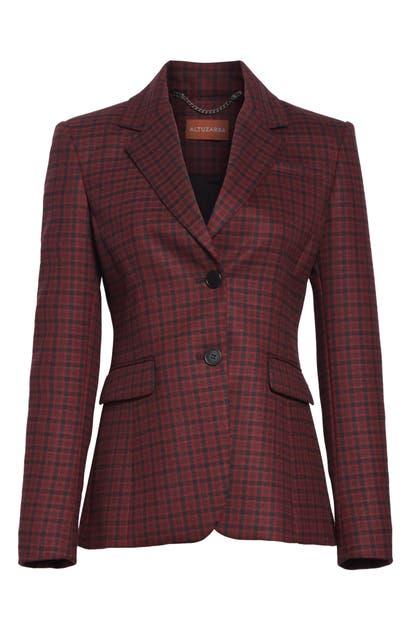 Altuzarra Fenice Plaid Wool-Blend Blazer In Carmine/ Black