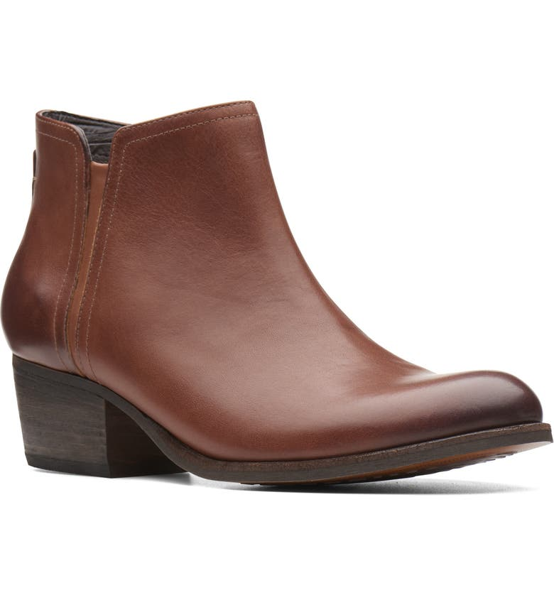 CLARKS<SUP>®</SUP> Maypearl Ramie Bootie, Main, color, DARK TAN/ BROWN LEATHER