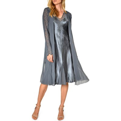 Petite Komarov Charmeuse & Chiffon Dress & Long Jacket, Grey