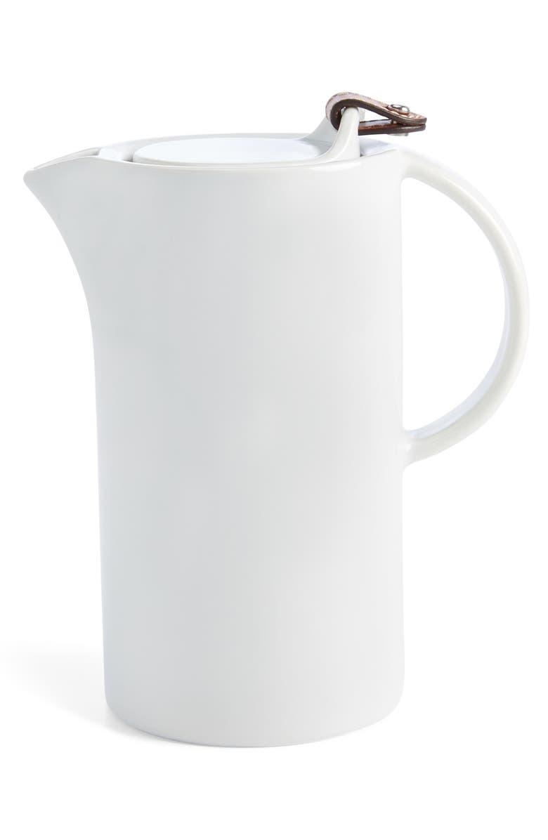 RALPH LAUREN Wyatt Porcelain Pitcher, Main, color, SADDLE/ WHITE