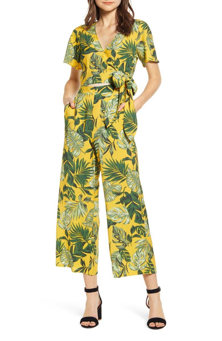 MOON RIVER Tropical Palm Print Wrap Jumpsuit, Main, color, TROPICAL