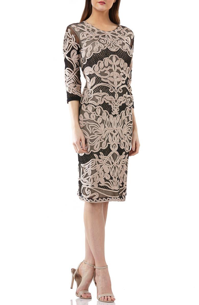 JS COLLECTIONS Soutache Sheath Dress, Main, color, 001