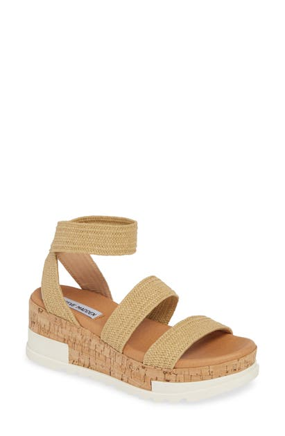 Steve Madden Bandi Platform Wedge Sandal In Natural Raffia