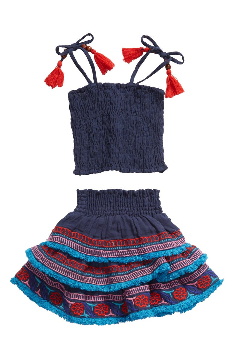 MER ST. BARTH Louisa Smocked Top & Tiered Skirt Set, Main, color, INDIGO