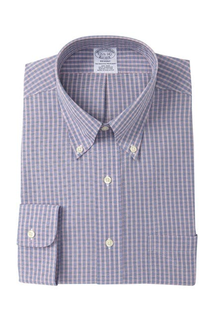 Image of Brooks Brothers Check Print Classic Fit Dress Shirt