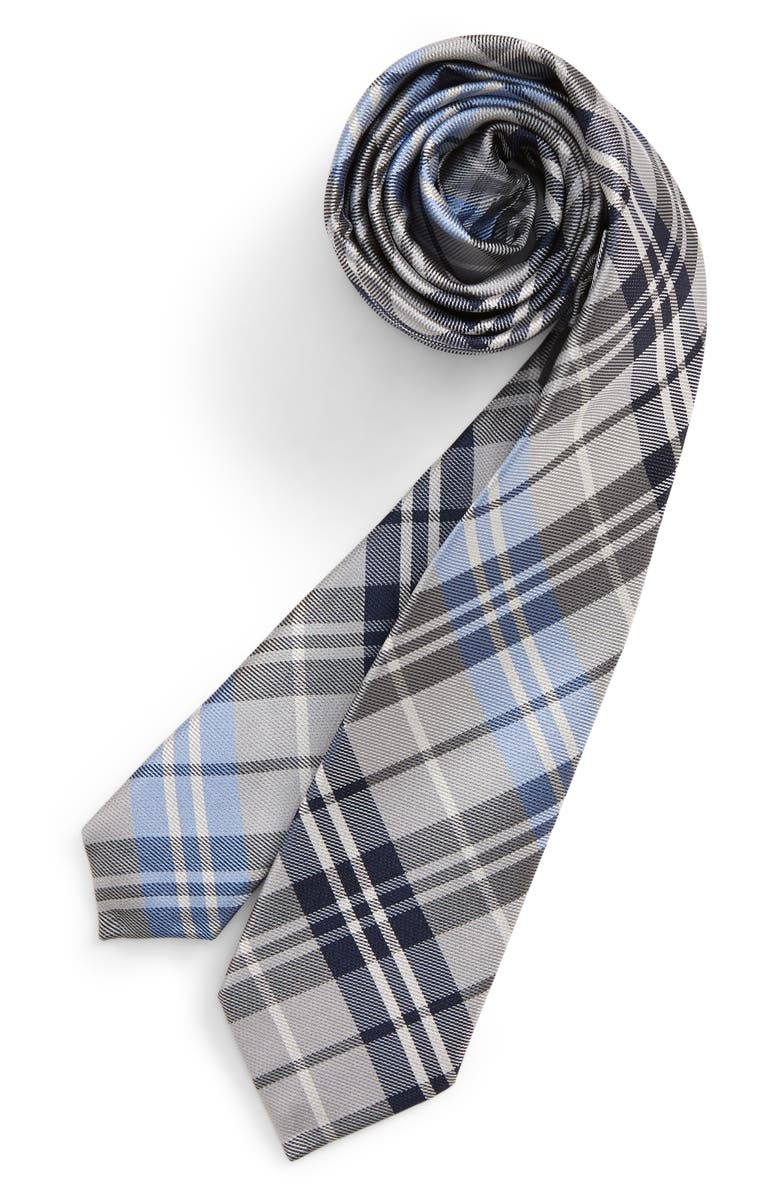 NORDSTROM Milo Plaid Silk Tie, Main, color, BLUE