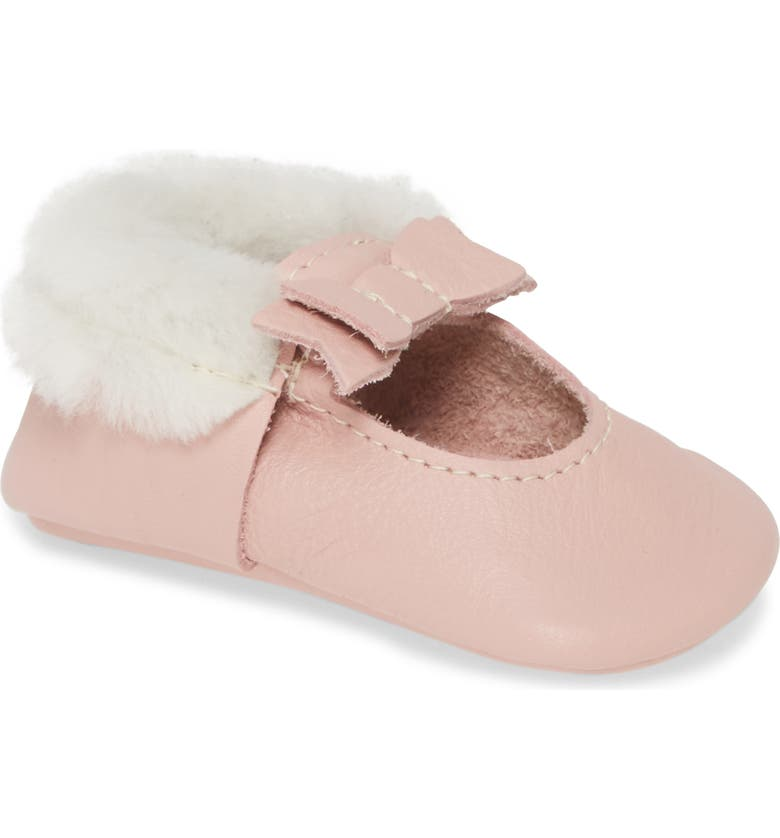 FRESHLY PICKED Genuine Shearling Lined Bow Moccasin, Main, color, BLUSH BALLET FLAT BOW