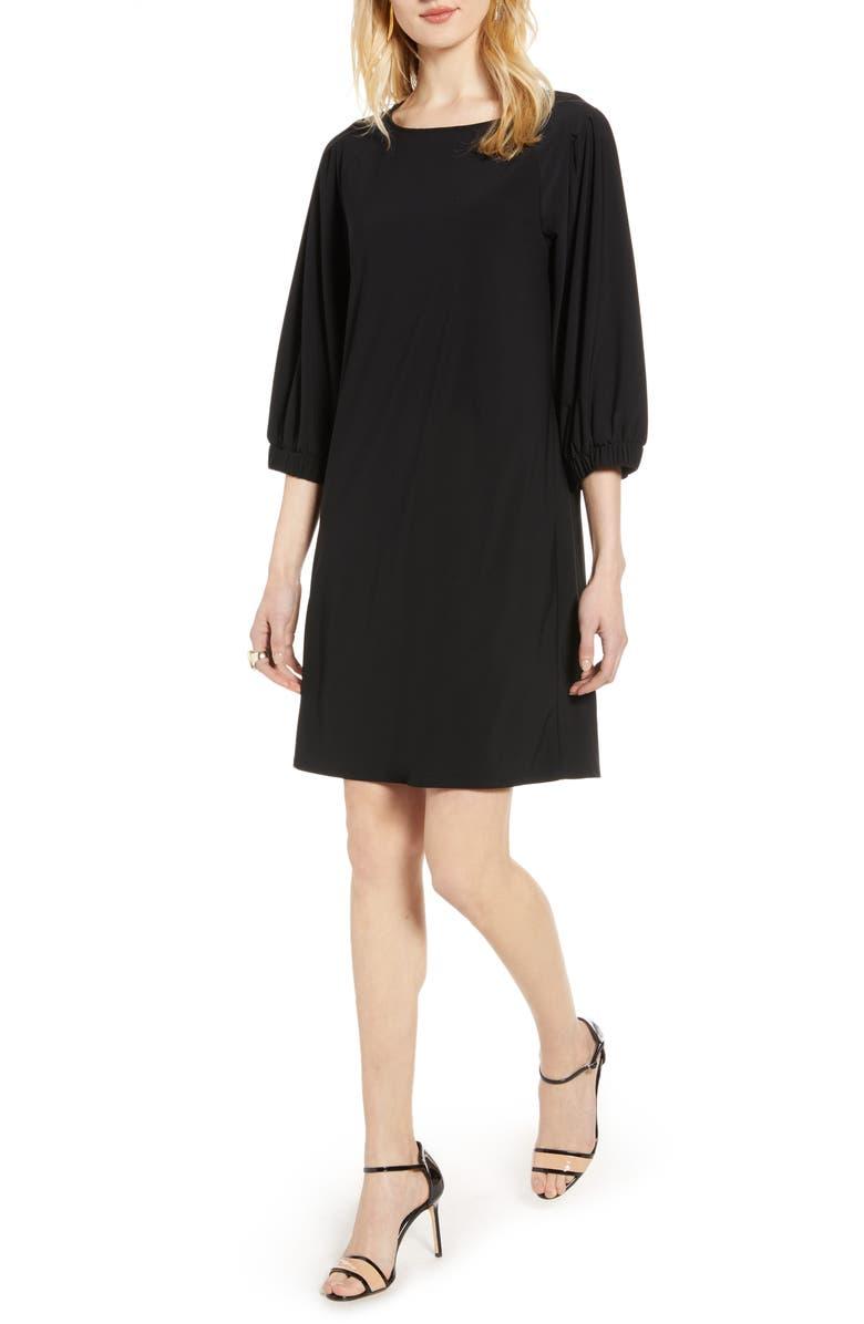 HALOGEN<SUP>®</SUP> Flowy Shift Dress, Main, color, BLACK
