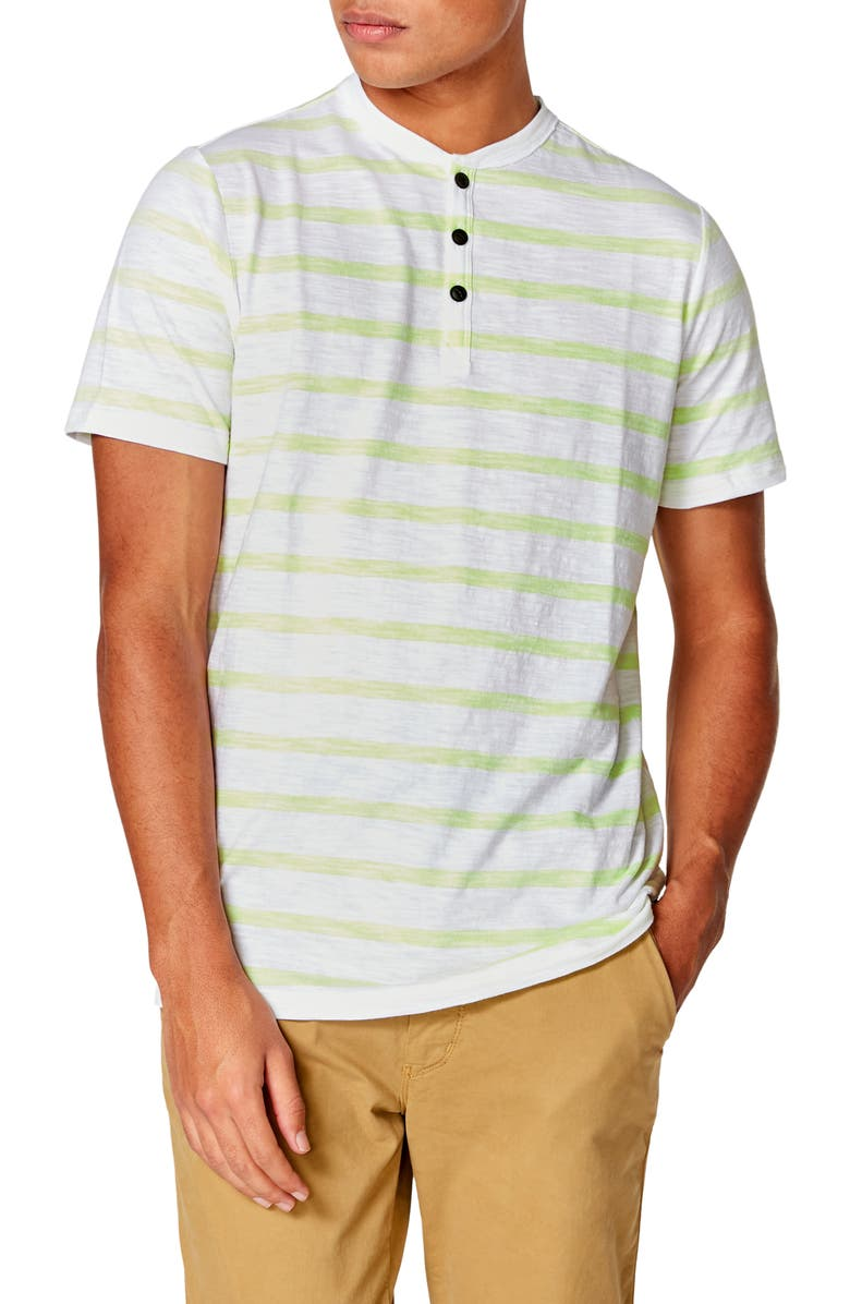 GOOD MAN BRAND Razor Slim Fit Stripe Henley, Main, color, CITRON