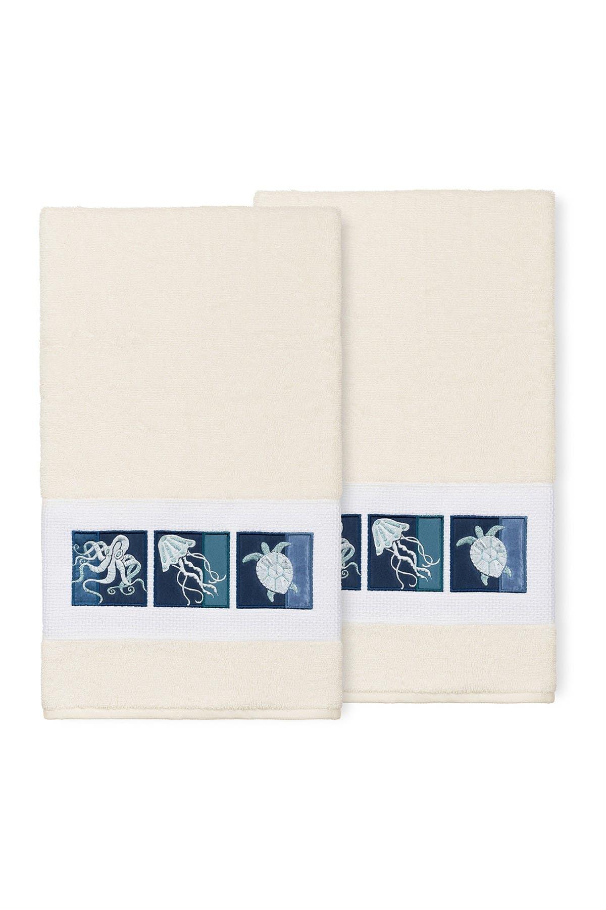 Image of LINUM HOME Ava Embellished Bath Towel - Set of 2 - Cream