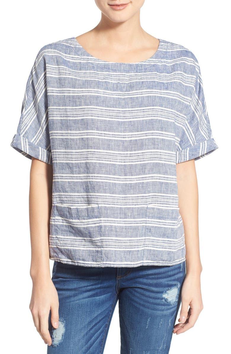CASLON<SUP>®</SUP> Stripe Short Sleeve Popover Top, Main, color, 420