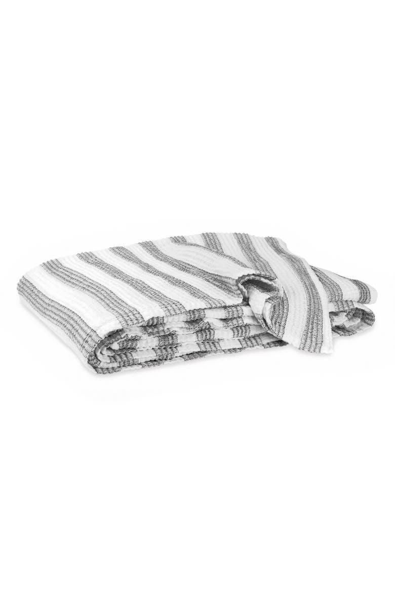 MATOUK Cabana Cotton Throw Blanket, Main, color, WHITE/ GREY