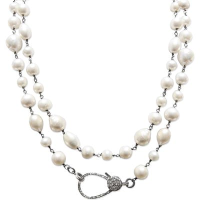 Jane Basch Designs Long Pearl & Diamond Necklace