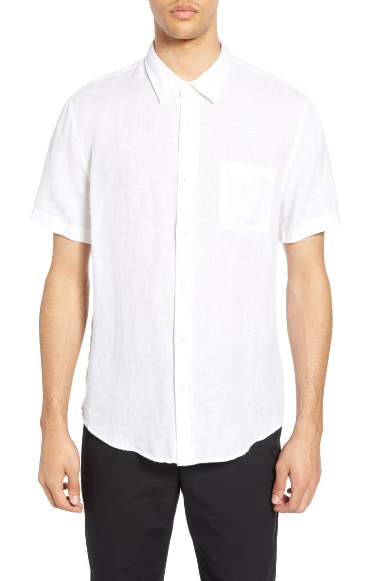 VINCE Short Sleeve Slim Fit Linen Sport Shirt, Main, color, OPTIC WHITE