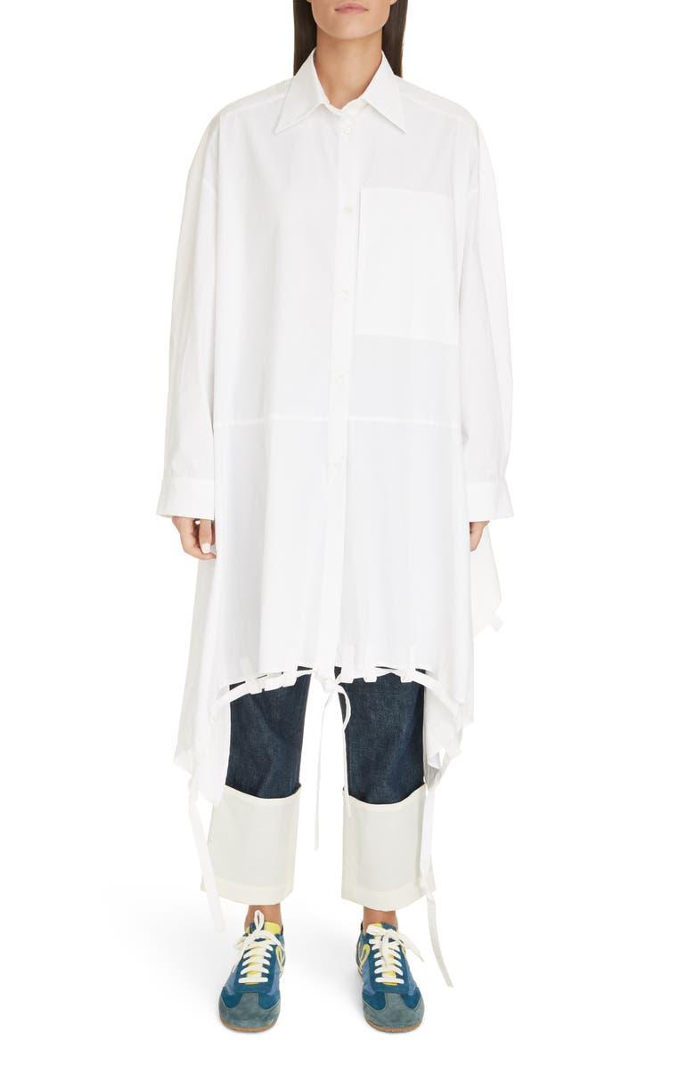 LOEWE Tie Hem Oversize Cotton Shirt, Main, color, WHITE