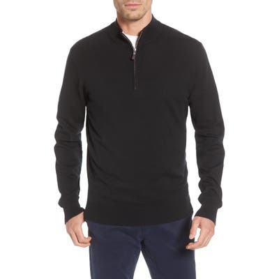 Peter Millar Crown Quarter Zip Pullover Sweater, Black