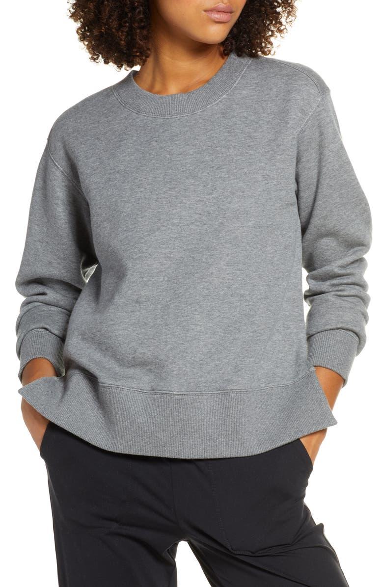 ZELLA Nola High/Low Sweatshirt, Main, color, GREY DARK HEATHER