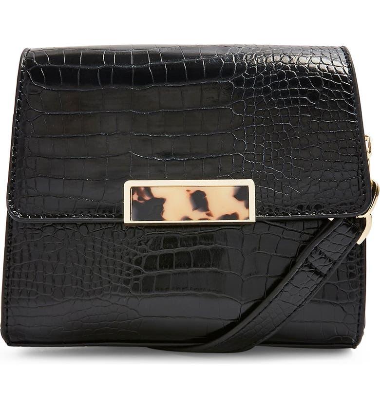 TOPSHOP Skye Crocodile Crossbody Bag, Main, color, 001