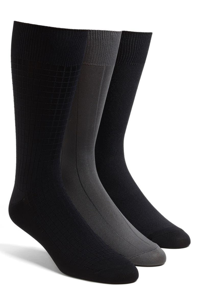 CALVIN KLEIN 3-Pack Microfiber Socks, Main, color, GREY