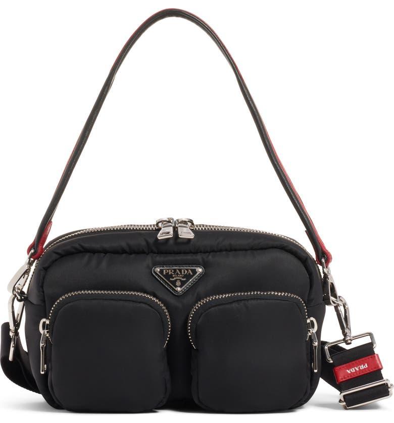 PRADA Logo Nylon Shoulder Bag, Main, color, NERO/ FUOCO