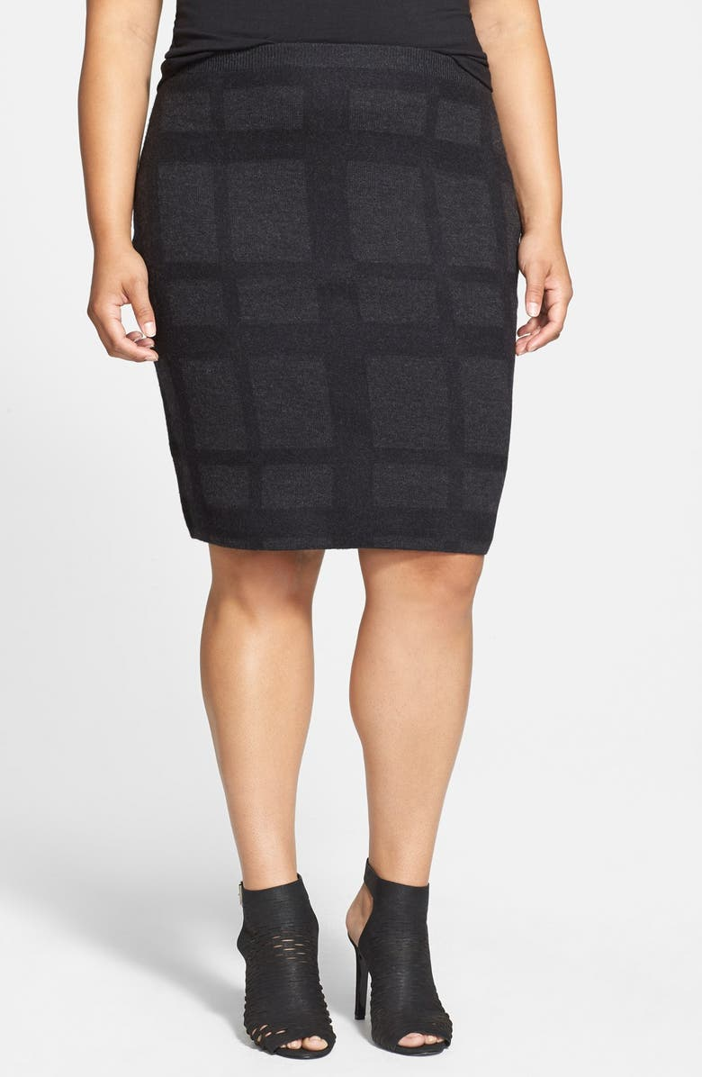 EILEEN FISHER Plaid Felted Wool Knit Skirt, Main, color, 002