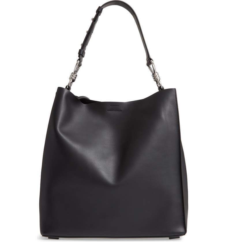 ALLSAINTS Captain Leather Tote, Main, color, BLACK