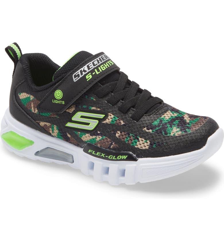 SKECHERS Flex-Glow Light-Up Sneaker, Main, color, 001