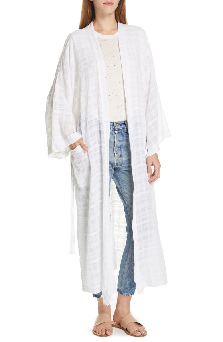 NSF CLOTHING Hannah Stripe Linen Blend Duster, Main, color, SOFT WHITE