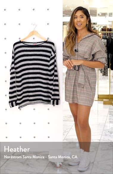 Fuzzy Stripe Boatneck Sweater, sales video thumbnail