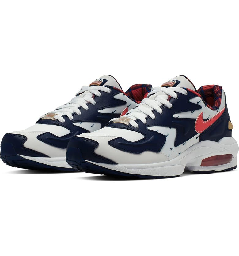 NIKE Air Max2 Light Sneaker, Main, color, WHITE/ UNIVERSITY RED/ NAVY