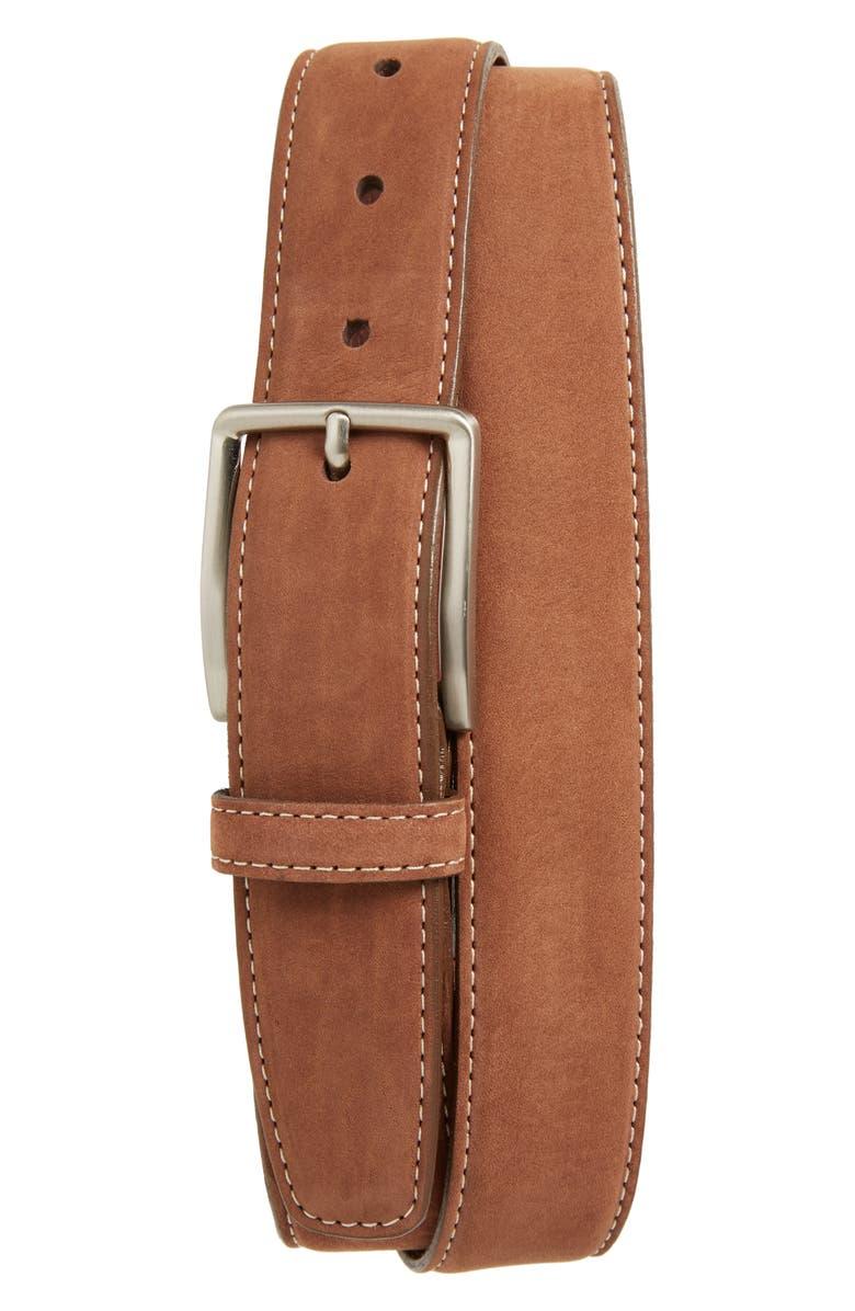 TORINO Nubuck Leather Belt, Main, color, WHISKEY